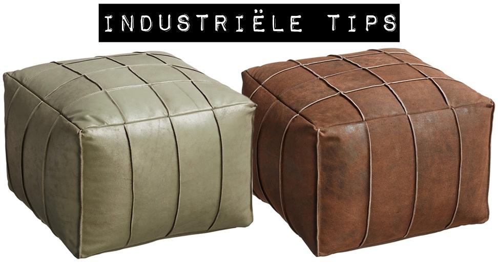 Industriele-tip-industrieel-interieur-leren-poef-industriele-woonkamer-groen-cognac