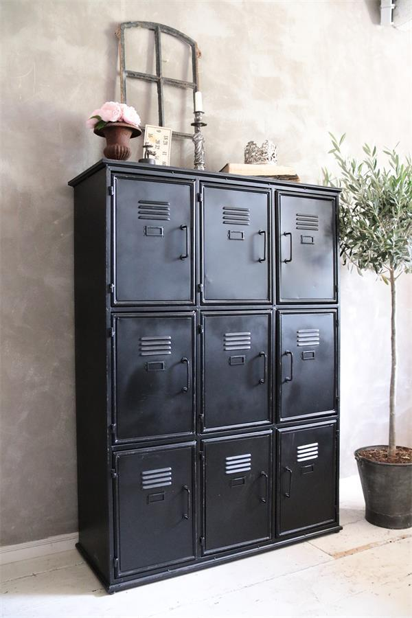 industri le kast metalen zwarte lockerkast 90x125 cm my industrial interior. Black Bedroom Furniture Sets. Home Design Ideas