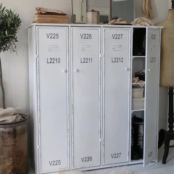 Industriële kast - metalen locker - Wit - 120x128 cm
