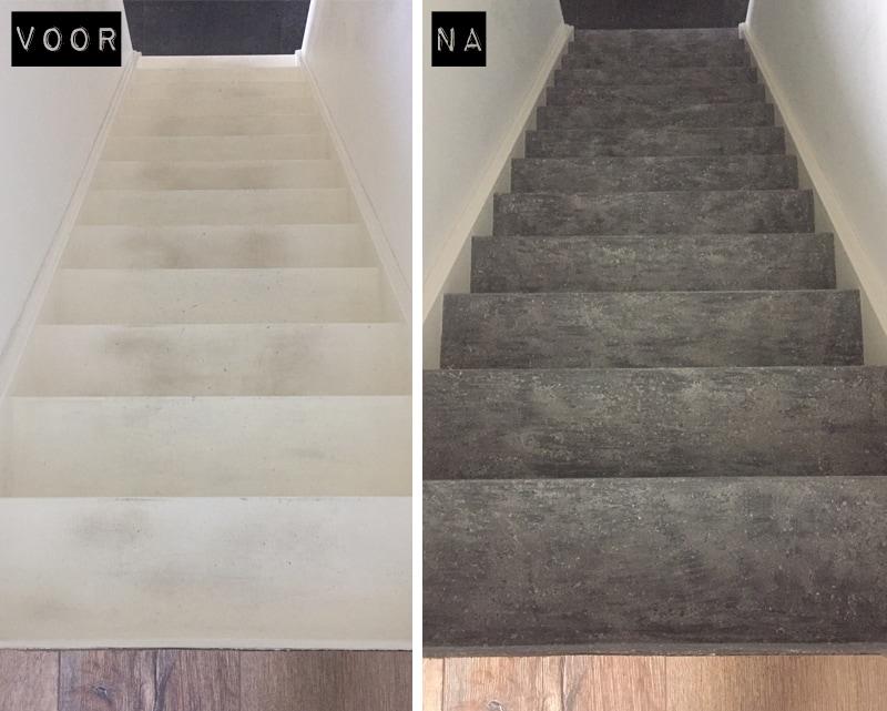 Voor-Na-trap-betonlook-diy-Silver-Blue-Primer-Grijs