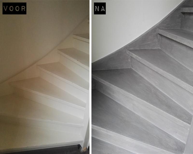 Zeer Basispakket: Betonlook verf voor een betonlook trap JF62