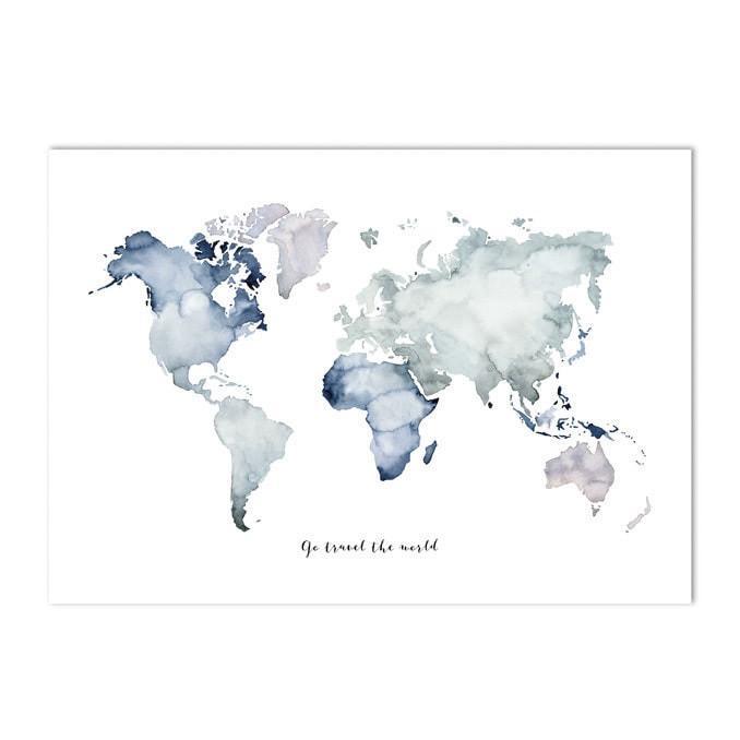 A4 poster Wereldkaart blauw groen 21 x 29,7 cm - My Industrial Interior