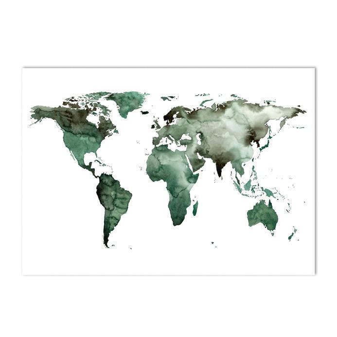 Poster Wereldkaart groen 50 x 70 cm - My Industrial Interior