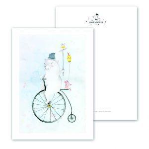 Kaart-Poster-Kinderkamer-Babykamer-stoere-kaarten-posters-Leo_La_Douce_edition_summer_Cycling-Bear-18-165