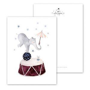 Kaart-Poster-Kinderkamer-Babykamer-stoere-kaarten-posters-Leo_La_Douce_edition_summer_Dancing-Elephant-18-158