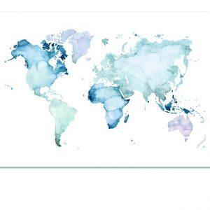 Wereldkaart-posters-aquarel-wereldkaart-posters-Poster-landkaart-kaart-landkaart-blauw-botanisch-interieur-Leo_La_Douce_edition_summer