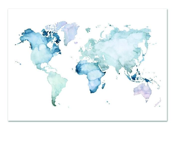 Poster-landkaart-kaart-landkaart-blauw-botanisch-interieur-Leo_La_Douce_edition_summer