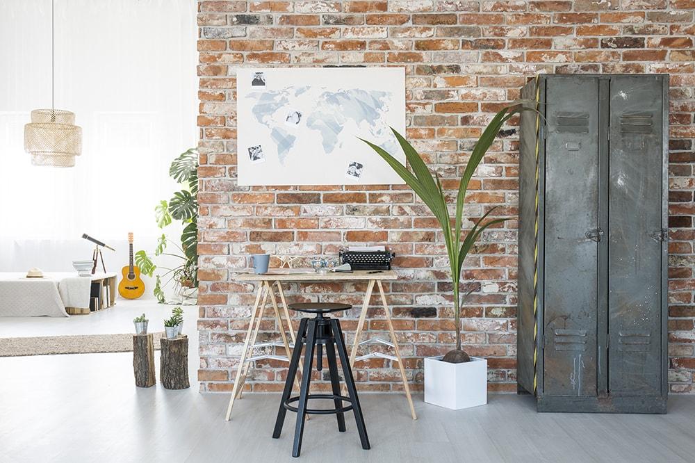 Bakstenen-muur-stoere-locker-industrieel-interieur-industrial-interior-Scandinavisch industrieel interieur-Scandinavische woonkamer