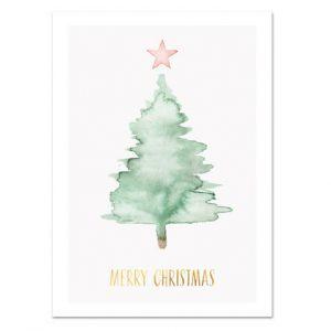 Botanische-posters-kaarten-botanisch-industrieel-interieur-Leo_La_Douce_edition_summer_kerstkaart-groene-kerstboom