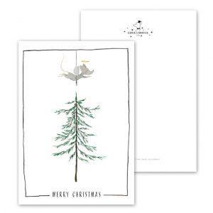 Botanische-posters-kaarten-botanisch-industrieel-interieur-Leo_La_Douce_kerstkaart-muis-kerstboom