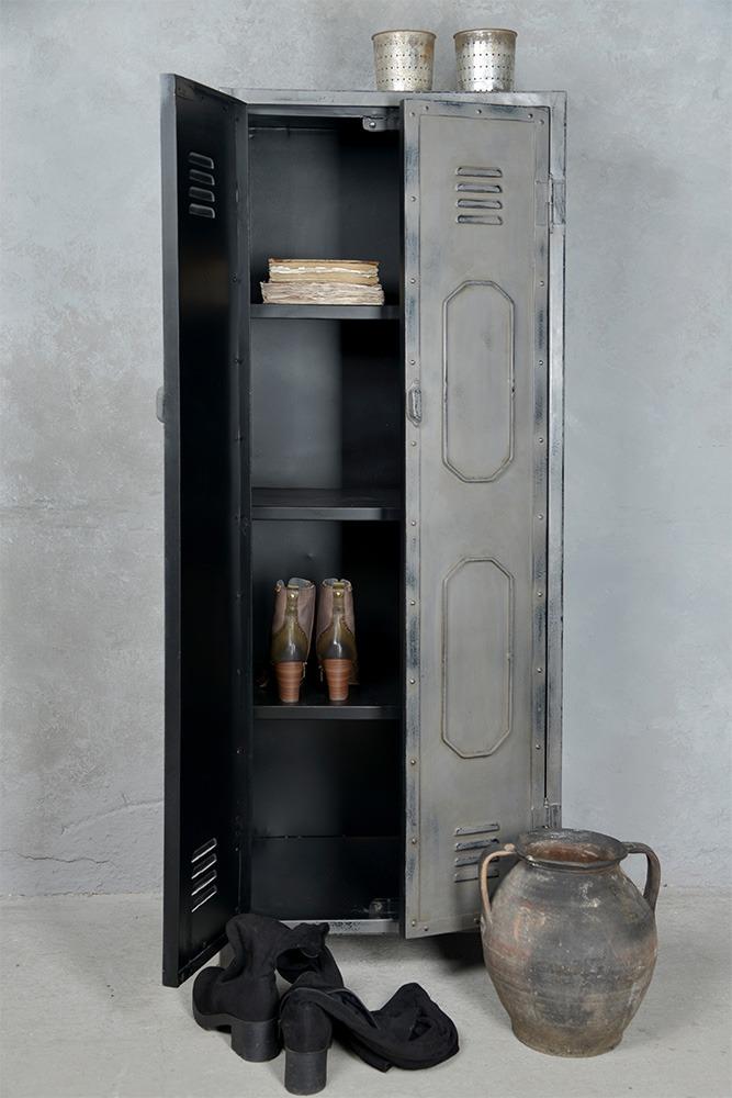 Grijze Industriële Kast Metalen Grijze Lockerkast 160x60 Cm