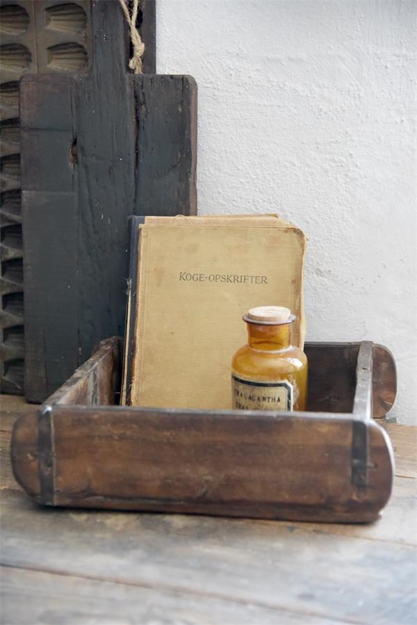 Oude Houten Steenmal - Vierkant - 30 x 28 x 9 cm