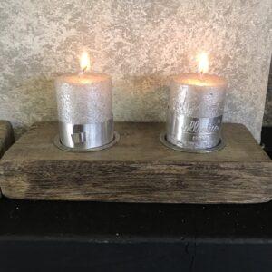 houten dubbele waxinelichthouder