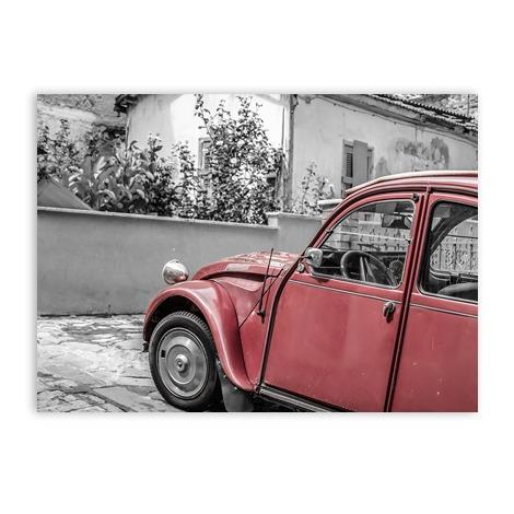 Zwart witte wenskaart vintage car auto 2cv