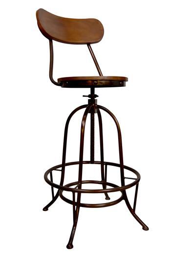 Bar kruk -Industrieel- van hout en staal