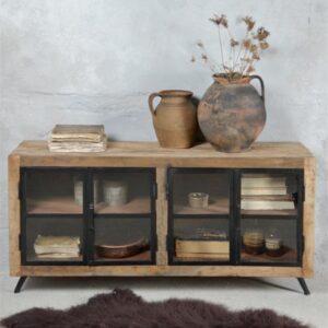 Houten dressoir met ijzeren glazen deuren - Naturel