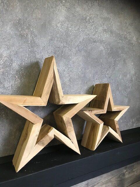 decoratie ster teak hout