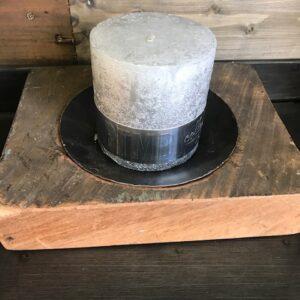 houten tableau kaarsstandaard