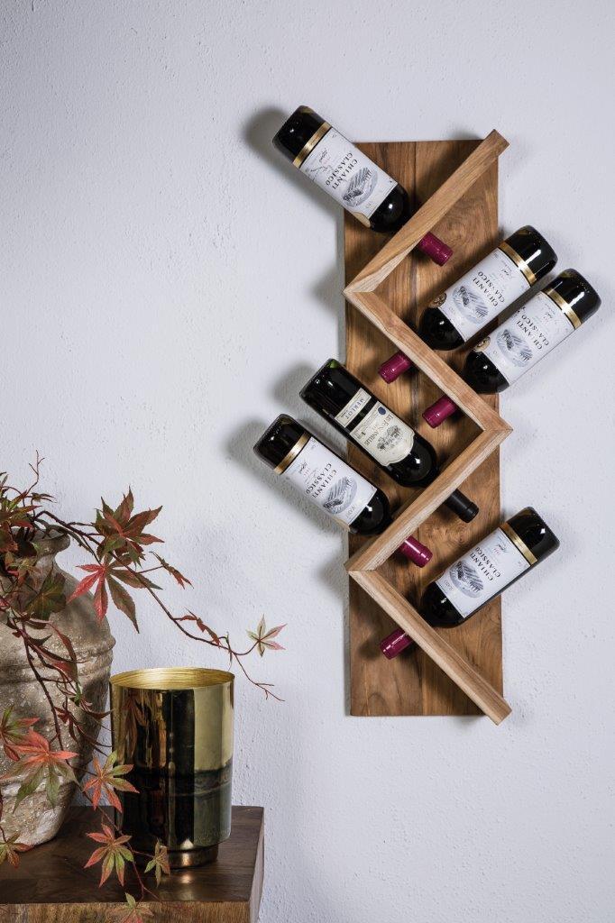 wijnrek voor 8 flessen van hout.