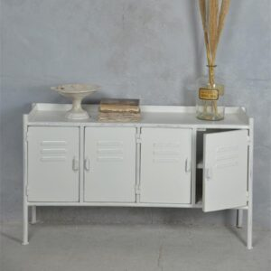 Metalen sidetable wit industrieel