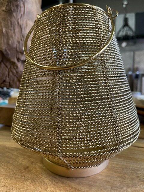 Metalen waxinelichthouder gevlochten koper
